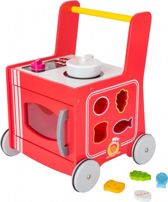 Dřevěný vozíček - červená kuchyňka