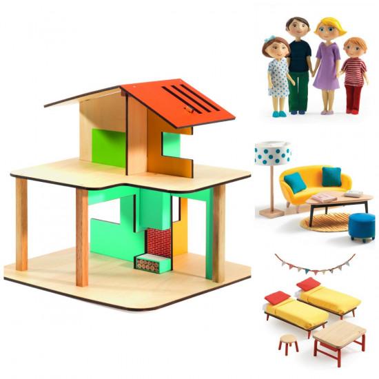 Domeček pro panenky - můj malý dům - set s rodinkou. obývákem a dětským pokojem