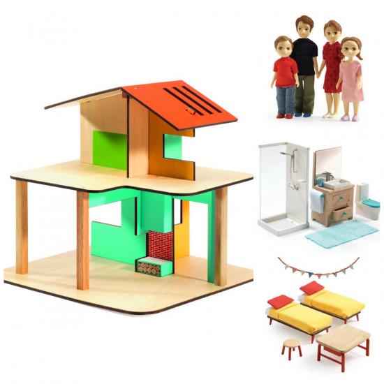 Domeček pro panenky - můj malý dům - set s rodinkou, koupelnou a ložnicí