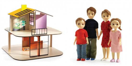 Domeček pro panenky - barevný domek - set s rodinou Toma a Marion