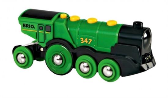 Brio - Mohutná elektrická zelená lokomotiva se světly