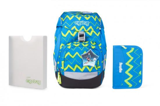 Školní set Ergobag prime Modrý Zig zag - batoh + penál + desky