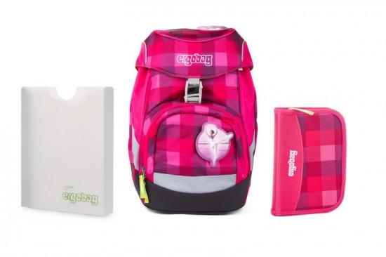 Školní set Ergobag prime Purpurový károvaný - batoh + penál + desky