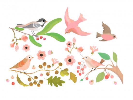 Samolepící dekorace na sklo - Ptáčí sněm