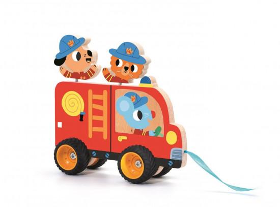 Dřevěné hasičské auto - tahací hračka