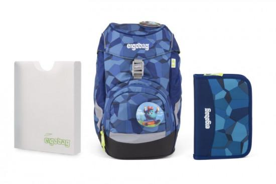 Školní set Ergobag prime Blue Stones 2019 - batoh + penál + desky