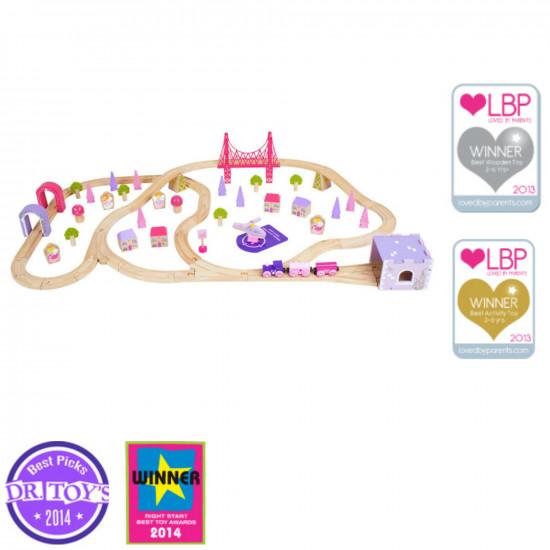 Bigjigs - Dřevěná vláčkodráha pro holky - princezny