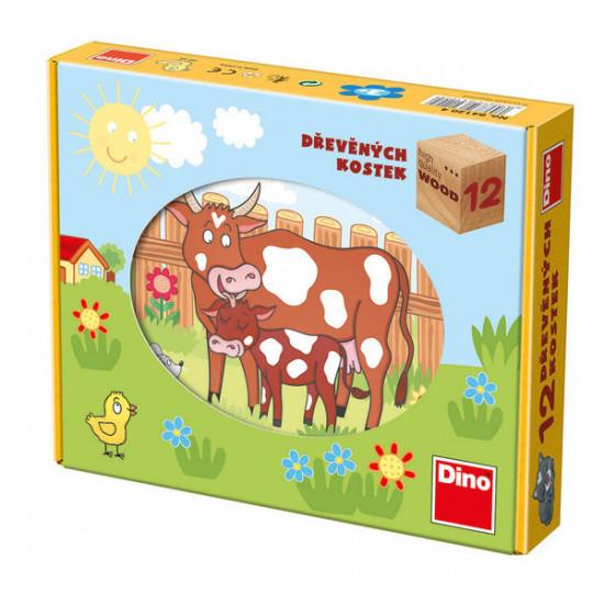 12 dřevěných kostek - domácí zvířata