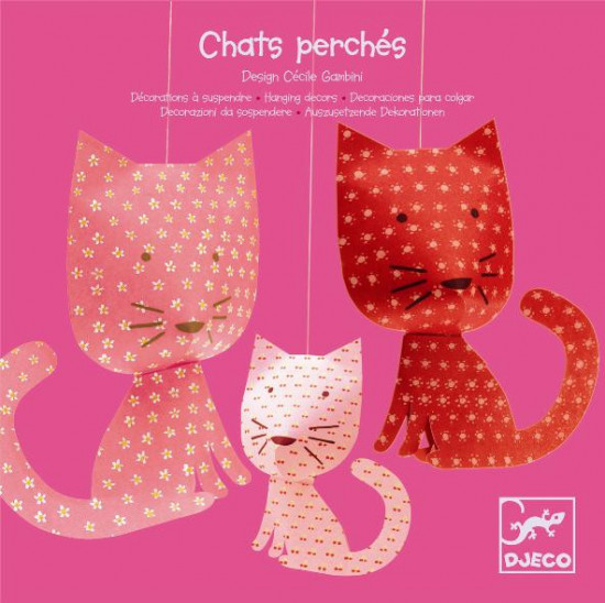 Závěsná papírová dekorace - Kočičky