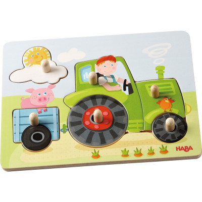 Dřevěné vkládací puzzle - traktor - 6 dílků