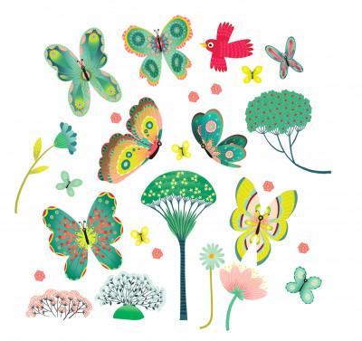 Samolepící dekorace na sklo - Motýlci v zahradě