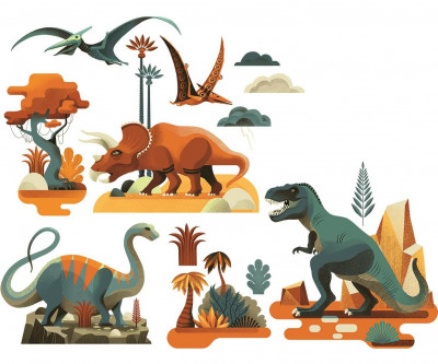 Samolepící dekorace na sklo - Dinosauři