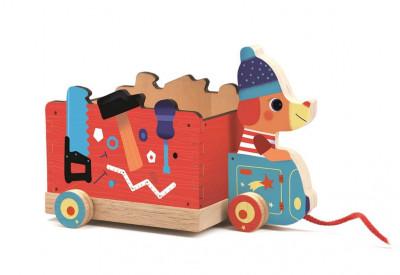 Dřevěný kamion - tahací hračka