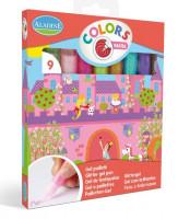 Třpytivá kreativní lepidla, sada 9 ks, pastelové barvy