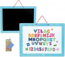 Vilac - magnetická oboustranná tabule s abecedou a čísly - 48 ks