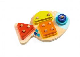 Jednoduché puzzle - spočítej kolíčky - 1,2,3,4