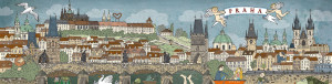 Skládací pohledy - panorama Prahy