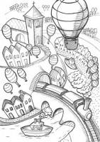 Skládací pohledy - Letem světem - omalovánky