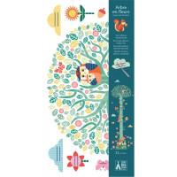 Samolepicí dětský metr - Kvetoucí strom a lesní zvířátka