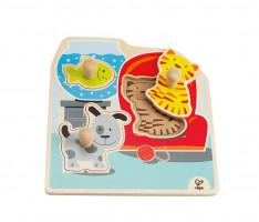 Dřevěné puzzle s úchytkami - zvířátka