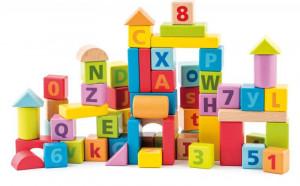 Pastelové kostky s písmeny a číslicemi - 60 ks