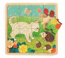 Dřevěné puzzle - Na zahradě - 16 ks
