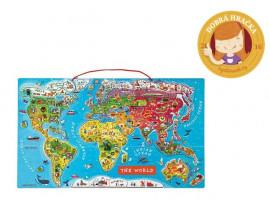 Mapa světa - magnetické vkládací puzzle 92 ks  (anglická)