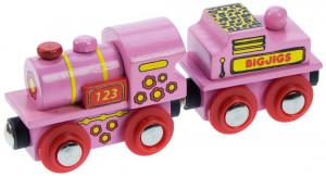 Bigjigs - Růžová mašinka s tendrem