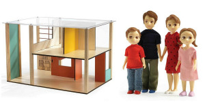 Domeček pro panenky - moderní domek - set s rodinou Toma a Marion