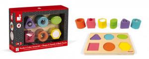 Dřevěné vkládací puzzle - zvuky a tvary