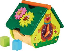 Veselý domeček s medvědem - edukativní dřevěná hračka - promáčklý obal sleva 15%