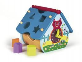 Veselý domeček s kočkou - edukativní dřevěná hračka