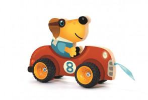 Dřevěné auto - tahací hračka