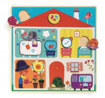 Dřevěné puzzle - domov pro zvířátka