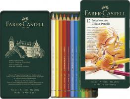 Pastelky Faber-Castell Polychromos v plechové krabičce - 12 barev