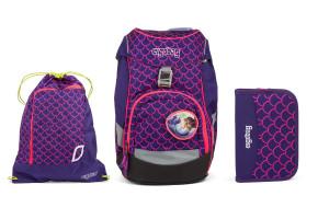 Školní set Ergobag prime Fluo růžový - batoh + penál + sportovní pytel