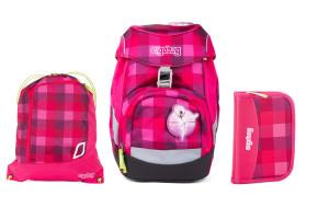 Školní set Ergobag prime Purpurový károvaný - batoh + penál + sportovní pytel