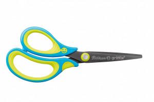 Dětské ergonomické nůžky Griffix se špičatou špičkou - pro leváky, modré, na blistru