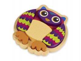 Zvířátkové puzzle na desce - sova - 9ks