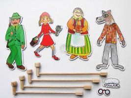 Marionetino -  Loutkový balíček s tyčkami - Červená karkulka