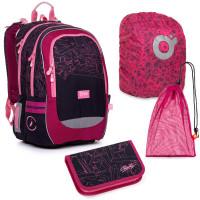 Velký školní set Topgal CODA 20009 G batoh + penál + pytlík na přezůvky + pláštěnka