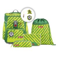 Školní aktovka SPACE pro prvňáčky - 5-dílný set, Step by Step NEON Fotbal, certifikát AGR