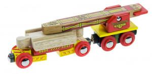 Bigjigs - Vagónek s jeřábem na koleje