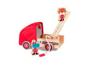 Lilliputiens - dřevěný hasičský vůz a nosorožec Marius
