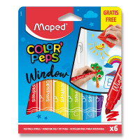 Fixy Maped Window na sklo - 6 barev + hadřík