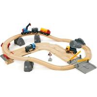 Brio - Vláčkodráha s nákladním vlakem, podjezdem a silnicí - 32 dílů