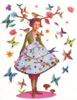 3D Samolepící dekorace - Lesní víla s motýlky
