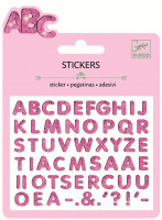 Mini samolepky - třpytivá růžová abeceda 3D