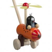 Dřevěné strkadlo - krtek a vrtulník