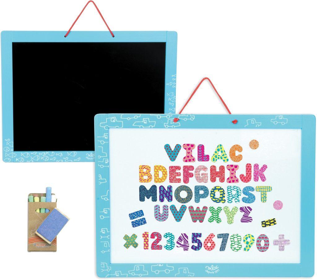 Vilac - magnetická oboustranná tabule s abecedou a čísly - 48 ks ... 03ace730ee